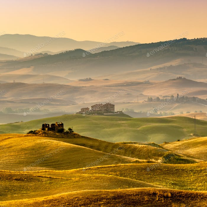 Tuscan Farmland with Villas and Villages at Dawn