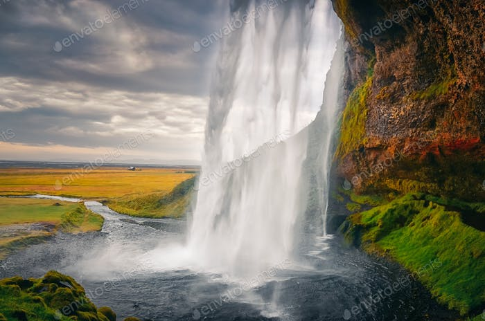 Landscape view of beautiful Seljalandsfoss waterfall in Iceland