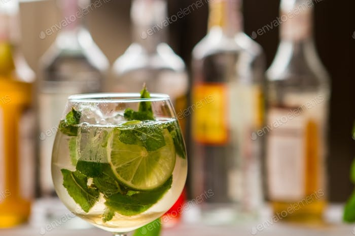 Drink with slice of lime