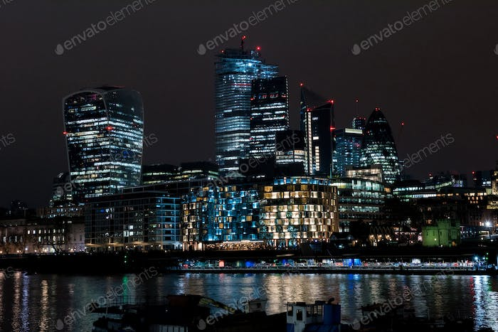 City of London financial district at night, UK