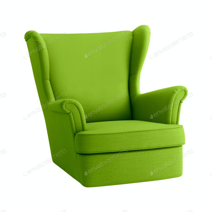 Green armchair on a white background