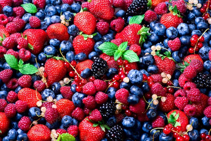 Assortment of strawberry, blueberry, raspberry, blackberry, currant, mint. strawberry, blueberry