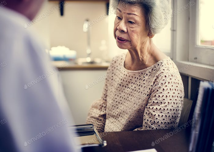 Asian old woman in a hospital