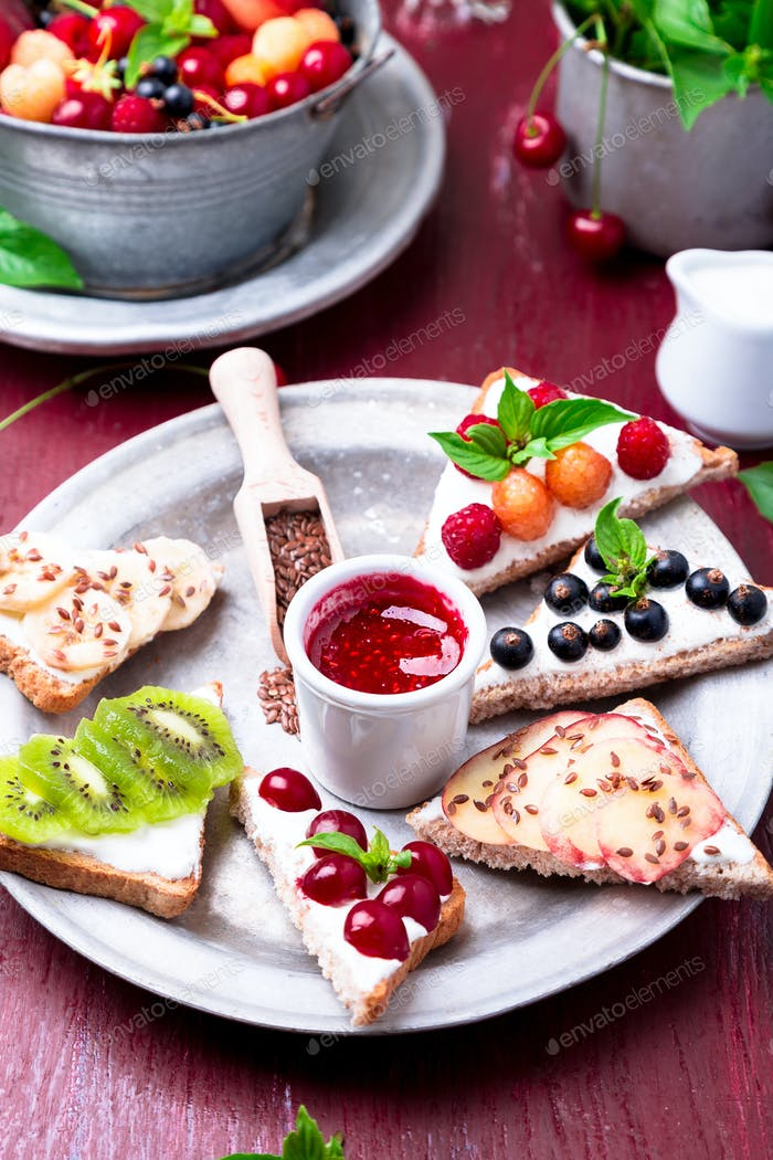 Fruit toast on red background