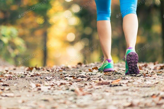 Frau zu Fuß und Wandern im Herbstwald