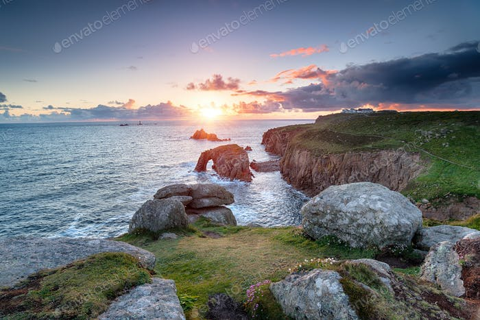 Sunset at Land's End in Cornwall