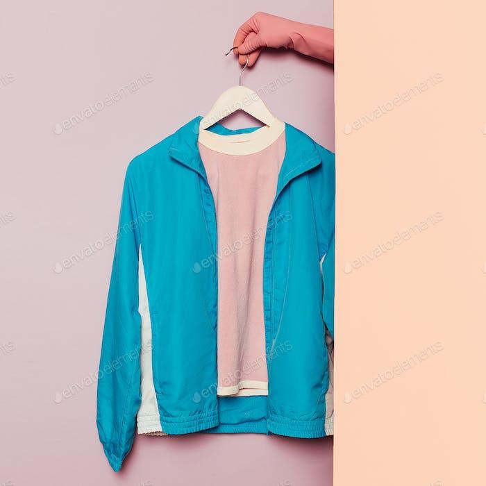Stylish sportswear. Minimal fashion. Windbreaker on a hanger. Wa