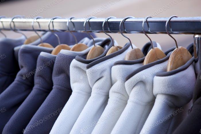 Fleece jacketson hangers