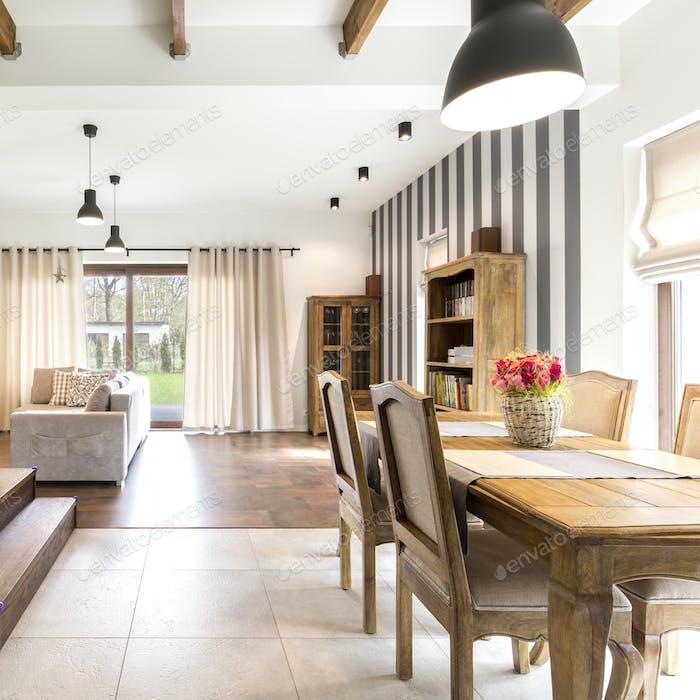 Elegant interior with wooden furnitures