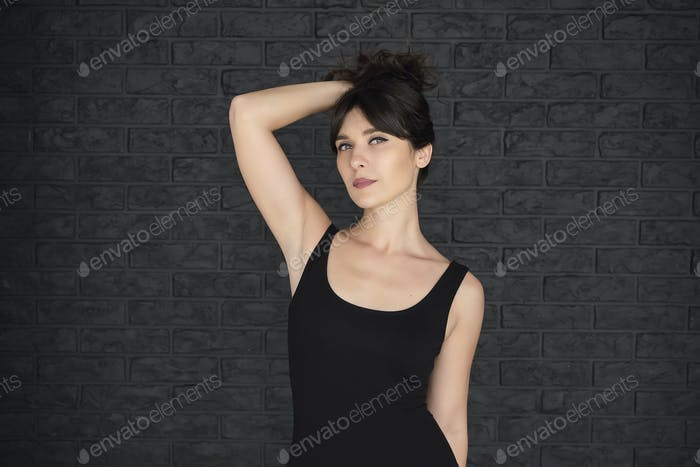 Woman in Black T-shirt with copy space