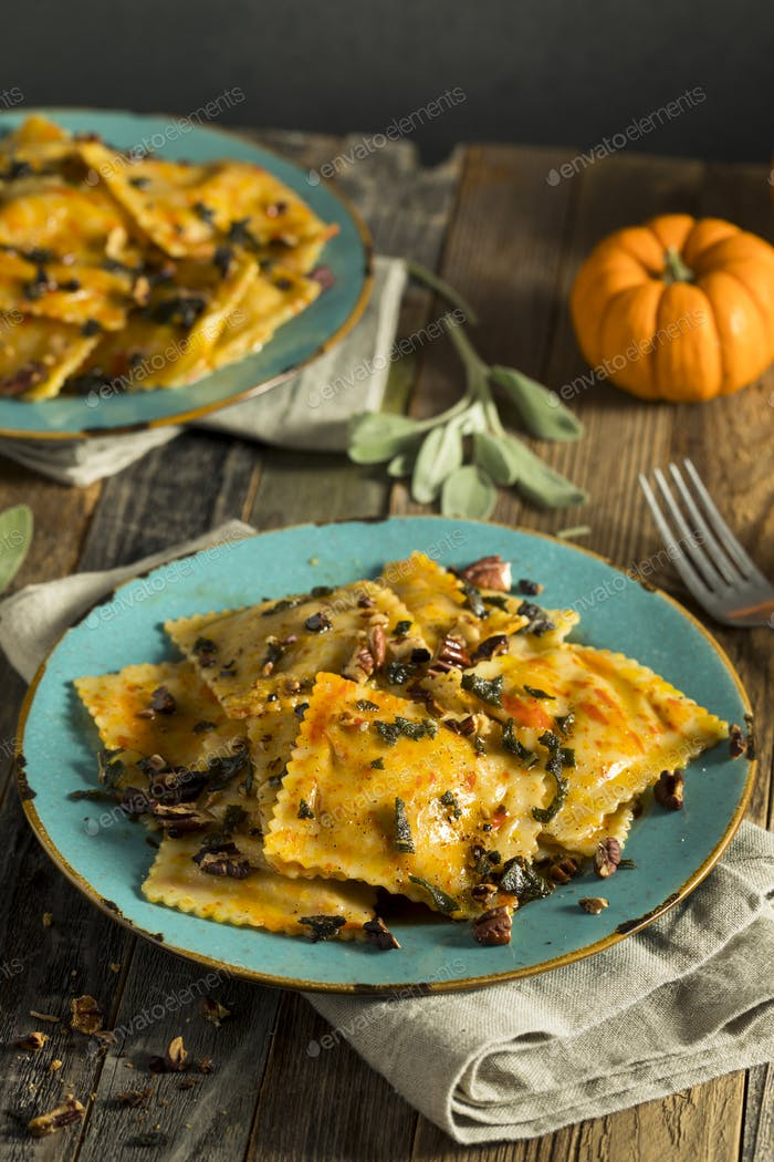 Homemade Pumpkin Ravioli with Butter Sauce