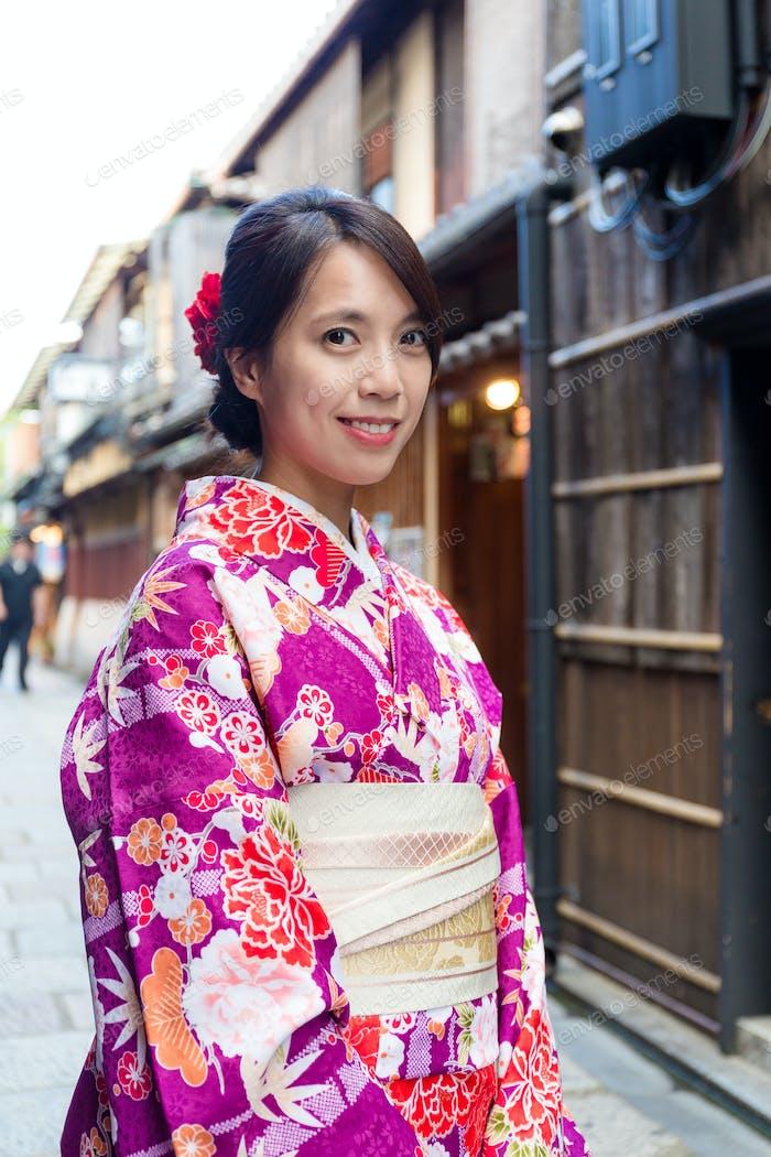 Woman with kimono in Kyoto