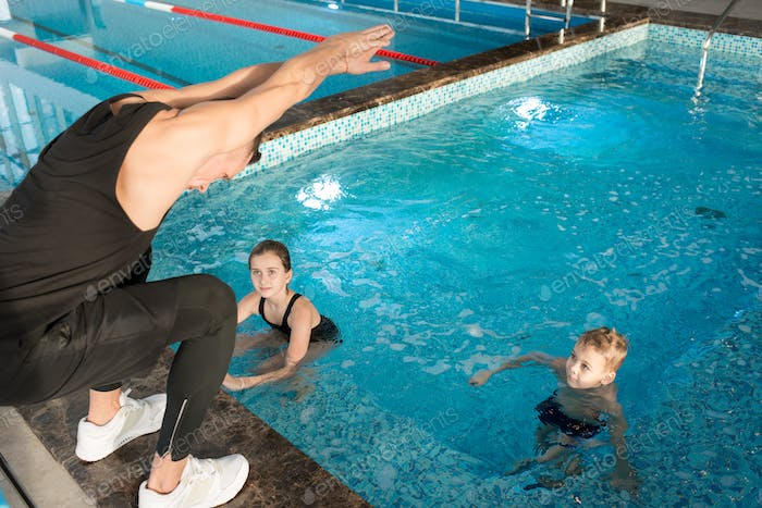 Swimming Coach at Work