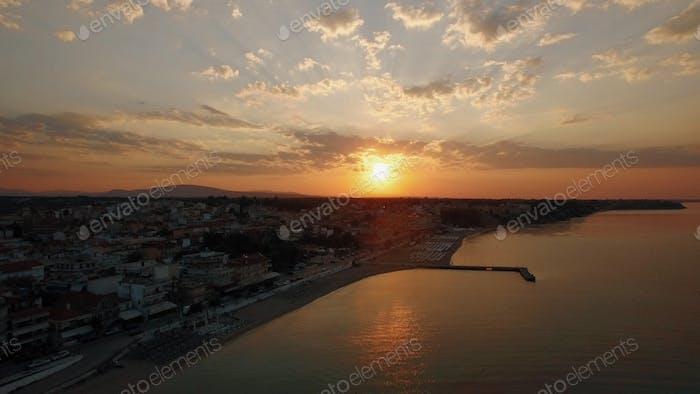 Sunrise aerial panorama of coastal resort town Nea Kallikratia, Greece