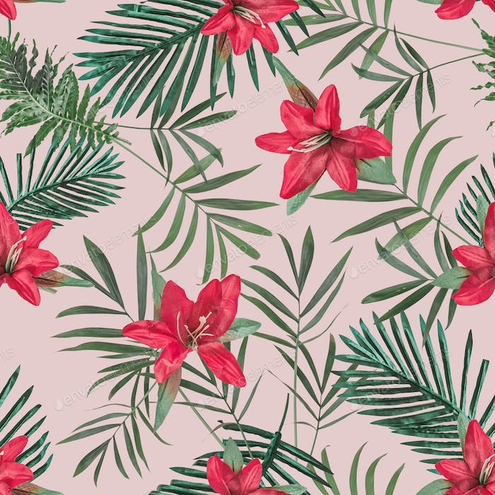 Creative seamless tropical pattern with flowers and pineapples on pink pastel background.