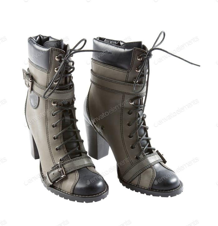 lace-up strapped sportive high heels leather boots