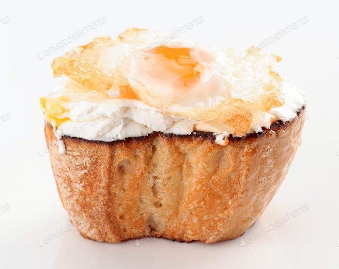 tapa quail egg on cream cheese