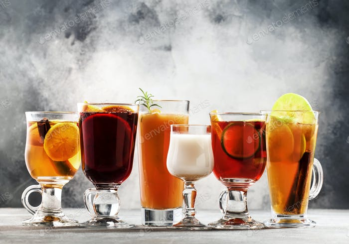 autumn or winter alcoholic hot cocktails
