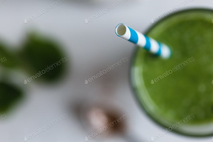 Green smoothie in the glass