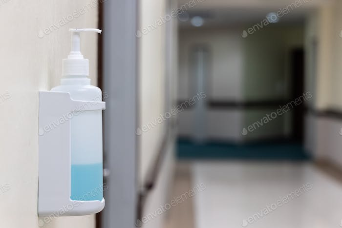 Public hand disinfectant sanitizer dispenser available in hospital for hygiene
