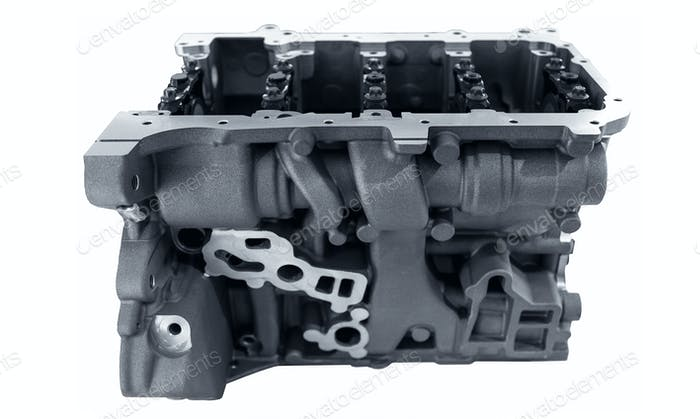 Car engine block on white background