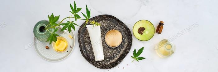 Kosmetik CBD Öl Kosmetische Produkte mit Cannabisöl, Tinktur Flach lag