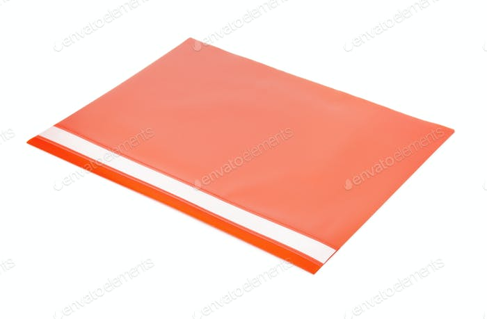 Red plastic document folder