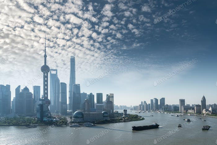 shanghai cityscape in morning, beautiful huangpu river and pudong skyline