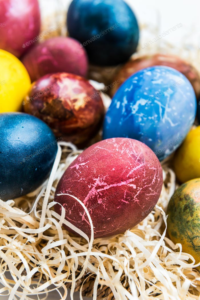 Bright Easter Eggs dyed using natural ingredients