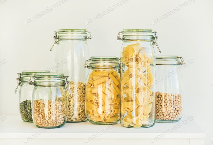 Uncooked cereals, grains, beans and pasta for healthy cooking