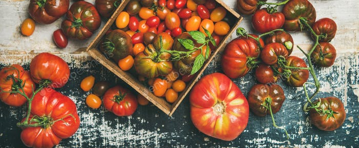 Flat -lay of fresh colorful tomatoes, top view