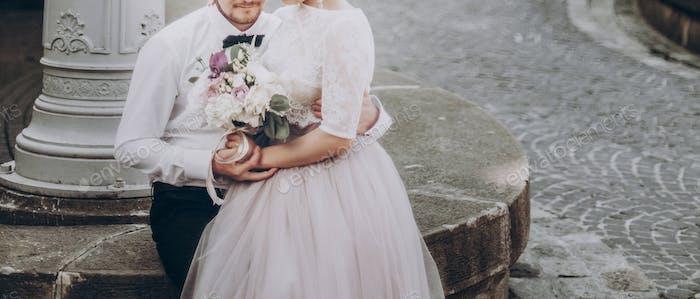 modern bride looking at groom