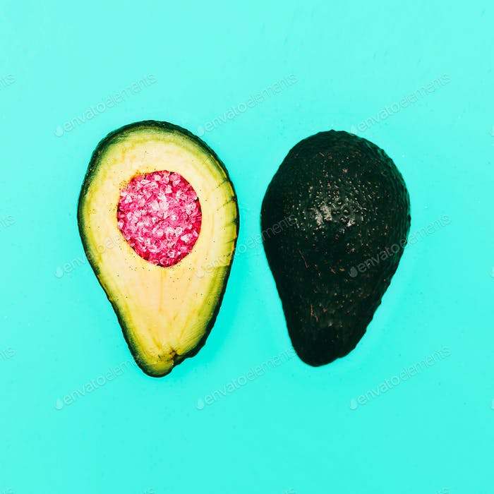 Avocado and rhinestones. Fashion details. minimalism