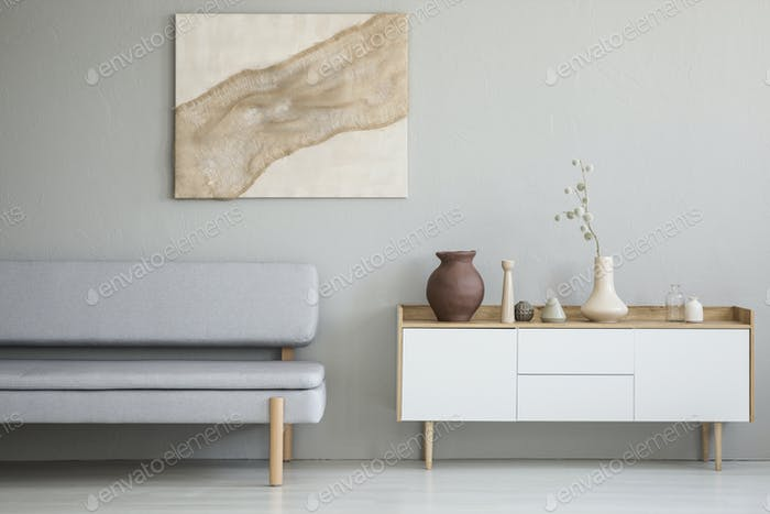 Real photo of a simple living room interior with a natural paint