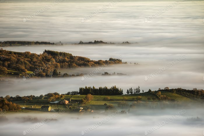 Mornig Fog covers the Valleys between hills