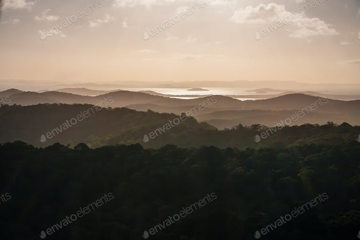 Aerial view to rainforest and ocean background landscape, brown pastel color. Sunset over the hills