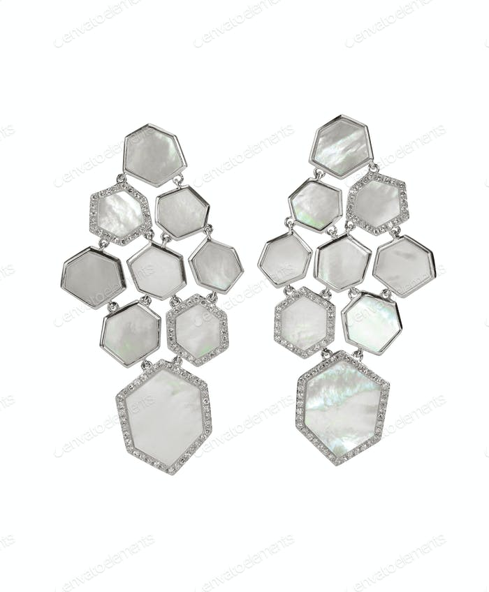 silver and Mother of pearl drop fashion earrings
