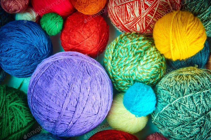 colorful wool yarn balls.wool yarn ball. Colorful threads for ne