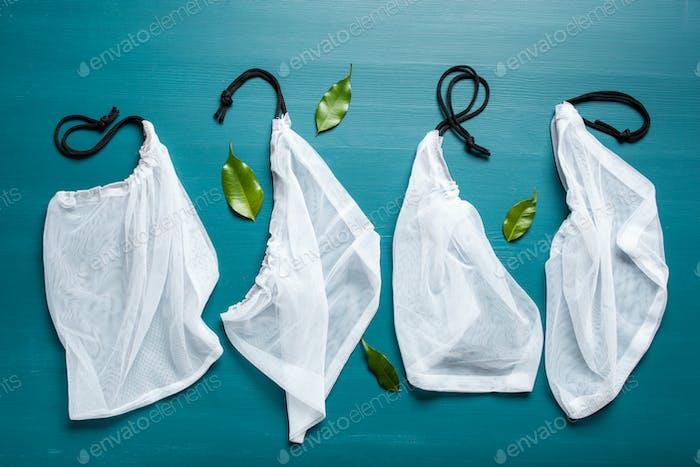 reusable mesh nylon bag, plastic free zero waste concept