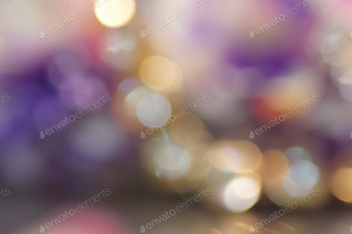 The colorful background of blurry light