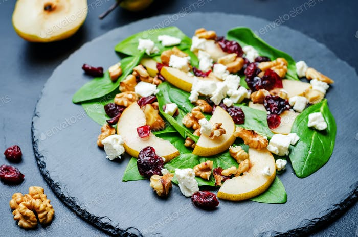 spinach, dried cranberries goat cheese walnuts pear salad