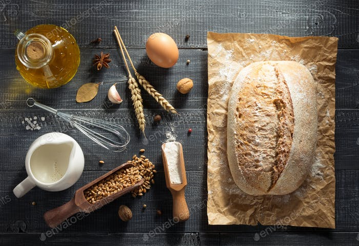 bread and bakery products on wood