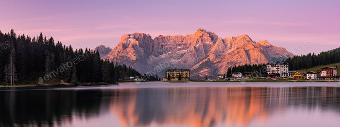 Wide Panoramic Imege of Lake Misurina at Beautiful Sunrise, Dolo