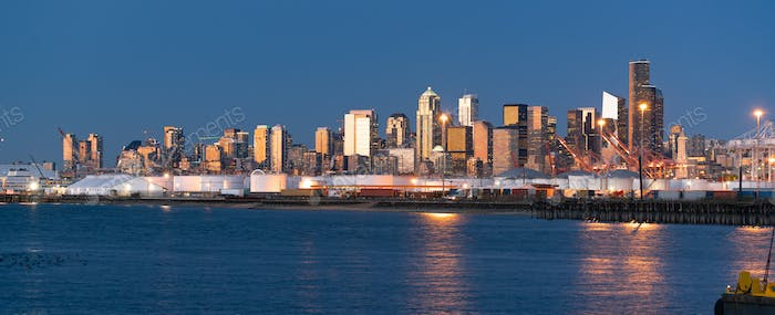 Sunset Light Reflects Off Buildings and Glass in Seattle Washington