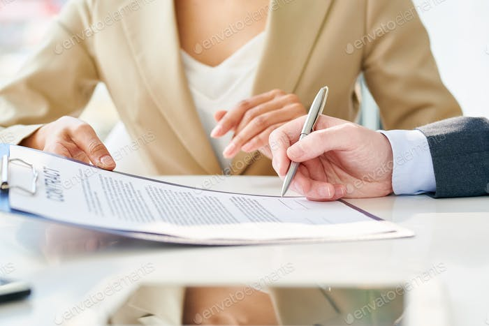 Unrecognizable Businessman Signing Contract Close Up