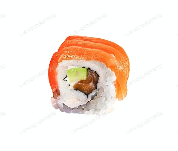 Japanese sushi rolls isolated