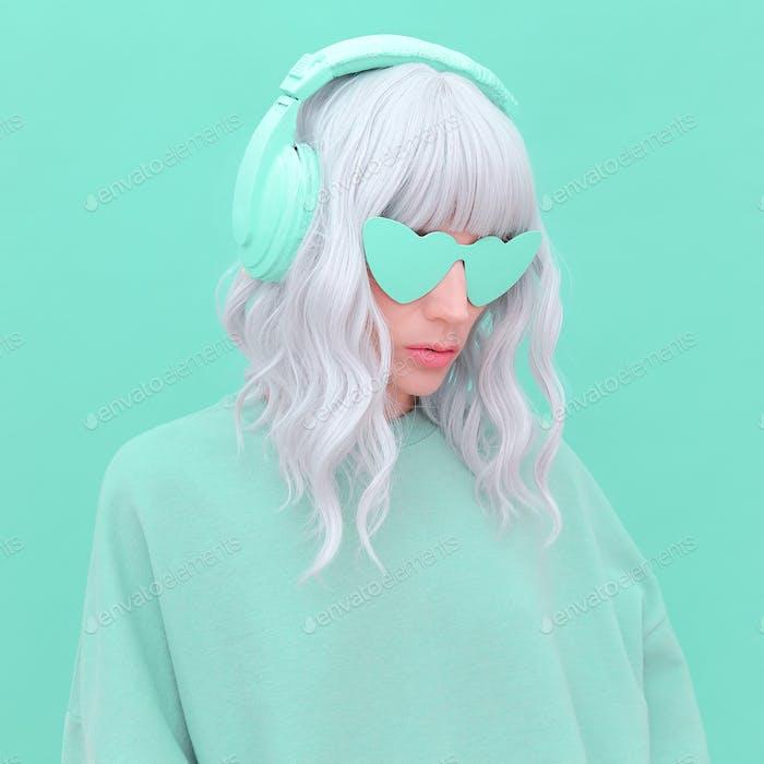Vanilla Dj Blonde Girl. Monochrome Party style. Fresh aesthetic mint colours. Listen to light music