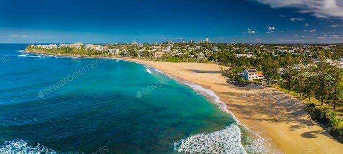 Luftaufnahmen von Dicky Beach, Caloundra, Australien