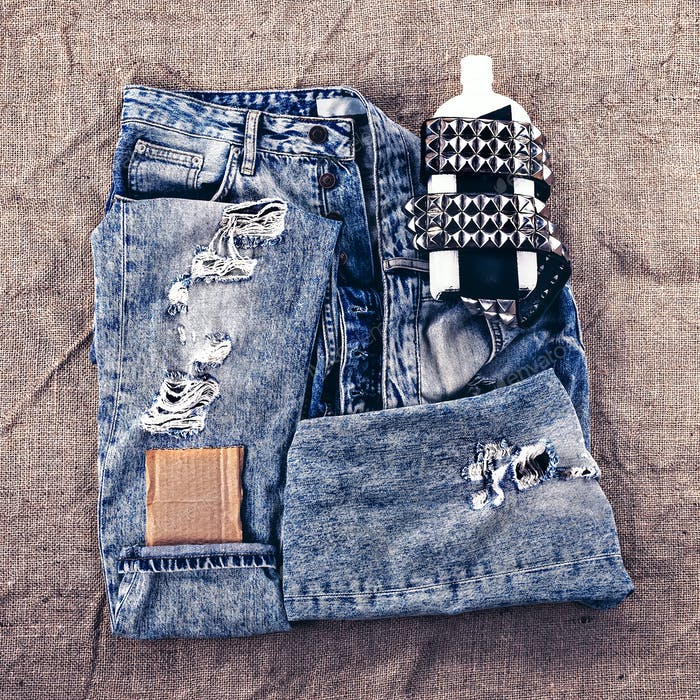 Fashion design photos. Metal grunge style. Vintage blue jeans