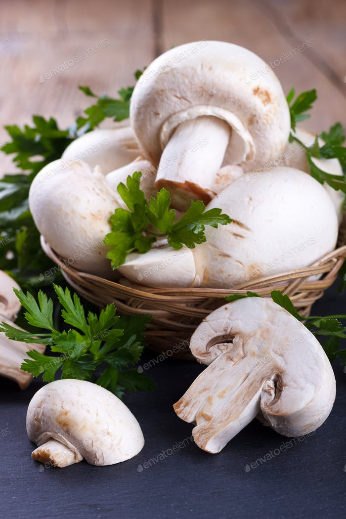Fresh raw mushrooms